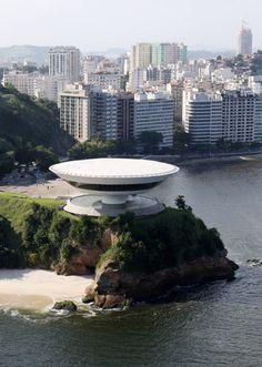 By  Oscar Niemeyer. The Niteroi Museum of Contemporary Art near Rio de Janeiro, built in 1991.