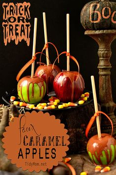 Fun and easy #Halloween #Craft: Faux caramel apples tutorial at TidyMom.net