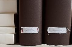 book covers with sewn binding labels
