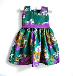 Baby Dress - Size 3T - Forest Green and Purple Floral Print with Purple Belt -Baby Girl Dress  - floral dress on Etsy, £20.77