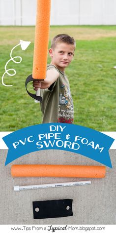 {DIY} PVC Pipe & Pool Noodle Foam Pirate sword!  So easy and my kids played with these for HOURS! #kbn