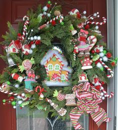 Christmas Candy Gingerbread House Wreath 27 inch by Shelley B Home and Holiday holiday, christmas candy, christma decor, christma candi, gingerbread houses, candi gingerbread, hous wreath