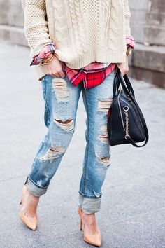 { sweater + plaid + distressed jeans }