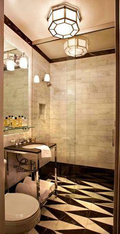 Bathroom vanity and marble tile