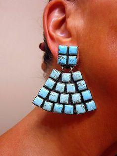 "Outstanding Federico Jimenez ""Pyramidal"" Shape Kingman Turquoise 925 Clips | eBay $675.00 Buy it Now"