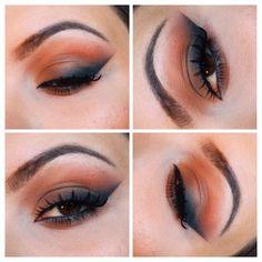 perfect blending - orange, warm brown, black. love the liner shape