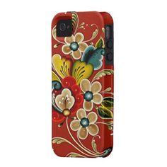 Scandinavian Norwegian  Rosemaling Folk Art Case-Mate iPhone 4 Covers