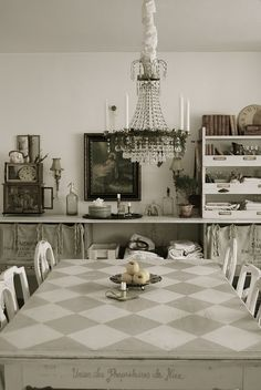 checkered table