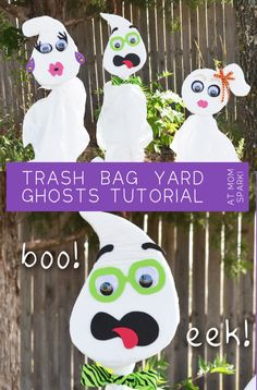 Trash bag yard ghosts! So easy to make, too. #diy #halloween #crafts #ghosts