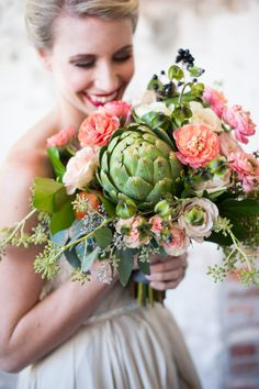 This bouquet has an artichoke addition: http://www.stylemepretty.com/2013/11/28/the-gathered-table-inspiration-from-bare-root-flora/ | Photography: Sarah Box - http://www.sarahboxphotography.com/