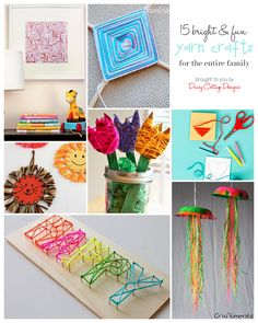 15 Yarn Crafts for Kids {& Adults}  Need to get rid of some of that yarn stash............turn it over to the kid.