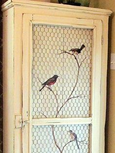 pie safe, bird, potting sheds, graphics fairy, chicken wire, fairi, painted doors, the wire, kitchen cabinets
