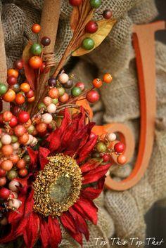 holiday, thanksgiving wreaths, burlap wreaths, tutorials, orang, wreath tutori, fall burlap, fall wreaths, side door