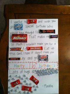 Cute happy birthday boyfriend card. Candy was easy to find!