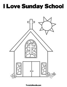 I Love Sunday School Coloring Page from TwistyNoodle.com