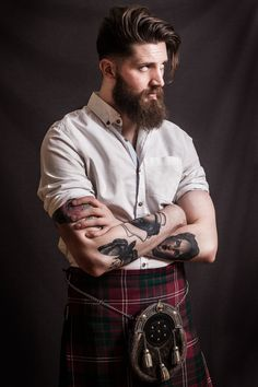 David Anthony - beautiful man in a kilt - full thick dark beard and mustache beards bearded man men mens' style kilts tartan plaid tattoos tattooed handsome #greatscots #beardsforever