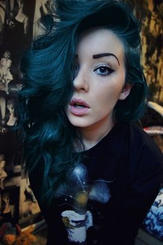 big curls, hair colors, dark hair, makeup, blue hair