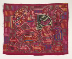 """Kuna people (Panama), """"Shirt panel (mola),"""" about 1950s; Indianapolis Museum of Art, The Paul and Irene Hollister Collection of Kuna molas, 2008.582"""