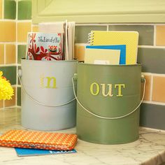ingoing and outgoing mail organization from paint cans.  So cute.