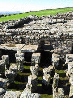 Roman ruins, with underfloor heating, Hadrian's Wall, Northumberland, England