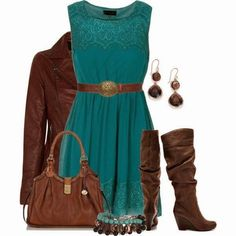 Lace teal dress, brown jacket, brown purse, brown boots, and accessories.