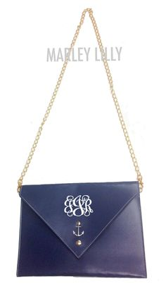 Monogrammed Navy Envelope Clutch Cross Body with Anchor Embellishment