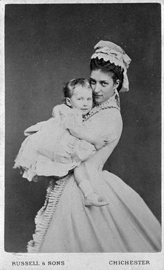"""Queen Alexandra (then the Princess of Wales) with her daughter Princess Princess Maud (Maud Charlotte Mary Victoria """"Harry"""") (1869-1938) of Wales, UK. 5th child of Edward VII (1841-1910) & Alexander of Denmark (1844–1925)  (the future Queen Maud of Norway)."""