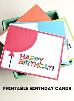Simple printable birthday cards/tags from thirtyhandmadedays.com