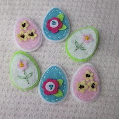 Six Felt Pastel Easter Eggs by CraftydsCreations on Etsy, $5.50