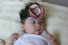INFANT FASCINATOR WITH BIRDCAGE VEIL BY THELAUGHINGPRINCESS, $16.20