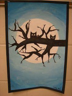 owl, moon, tree silhouette