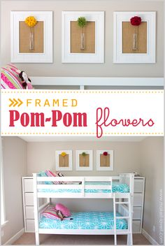 DIY Framed Pom-Pom Flowers (wall decor)....a really simple and fast No-Sew project!! -- Make It and Love It #MichaelsMakers