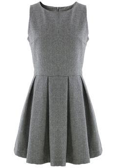 Grey Pleated Sleeveless Dress