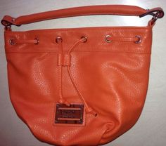 Nicole Miller Orange Pebble Leather Hobo purse NWOT Handbag Bag