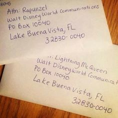 Kids can write to their favorite Disney characters ( and get a response) at this address.