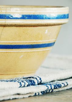 Old Yellow Ware Bowl With Blue Stripes