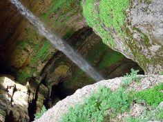 Baatara gorge waterfall, Lebanon    Baatara gorge waterfall (Balaa gorge waterfall) is a waterfall in the Tannourine, Lebanon.The waterfall descends the Baatara Pothole, located on the Lebanon Mountain Trail.