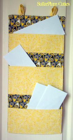 3 Pocket Hanging Wall Mail Organizer in by MySugarplumCuties, $27.00