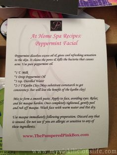 At Home Spa Recipes: DIY Peppermint Facial