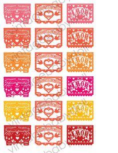 Papel Picado Dia de los muertos Amor love birds Wedding Cupcake Toppers Favor Tags - I design, You Print. $15.00, via Etsy.