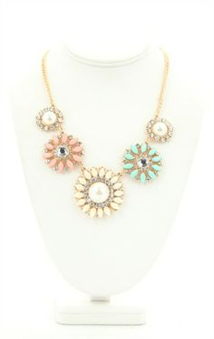 Deb Shops Short Statement #Necklace with Stone Flower Design $9.03