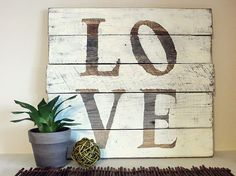 Pallet wood signs  We took some pallets apart and made some art!  To see more: http://namelyoriginal.blogspot.com/2013/02/pallet-wood-sign-ideas.html