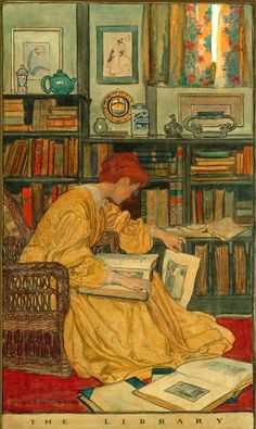 """The Library (1905). Elizabeth Shippen Green (American, 1871-1954). First published in """"The Mistress of the House"""" in Harper's Monthly, August 1905. The original watercolour illustration is now owned by the Delaware Art Museum."""