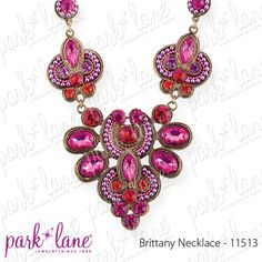"""The Brittany Necklace by Park Lane is made of genuine crystals in a great length of 18"""" with a 3"""" extender.  Different size and shape crystal gems, beads and baby-seed faux pearls, in varying shades of pink, fuchsia, lavender and tangerine orange, are intricately arranged in an elegant, exotic burnished gold necklace."""