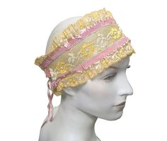 Antique 1920s Flapper Boudoir Bandeau Band Cream Lace with Silk Trim