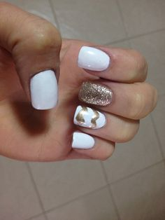 White nails with gold accent and gold chevron