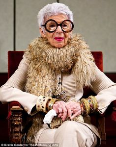 Iris apfel    Style Icon beyond,  her fashion exhibition ,,,, amazing woman  in her Mid 80tys,  stunning!  Jared Viar Design Dandy