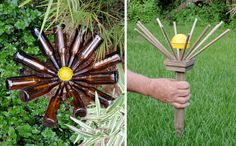 colors, yard art, bottle trees, daisies, craft idea