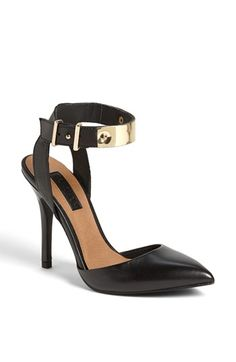 black and gold ankle strap pumps @Nordstrom