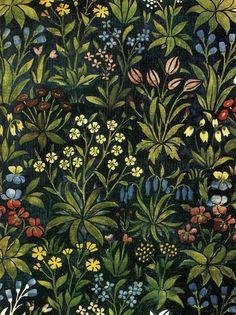 Illustration: John Henry Dearle. Mille Fleurs tapestry hanging, 1917.